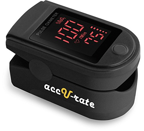 CMS 500DL Generation 2 Fingertip Pulse Oximeter Blood Oxygen Saturation Monitor with silicon cover, batteries and lanyard (Mystic Black)