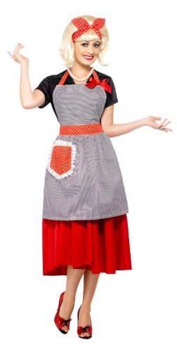 Smiffy's 50s Housewife Honey Kit, Grey/Red, One Size