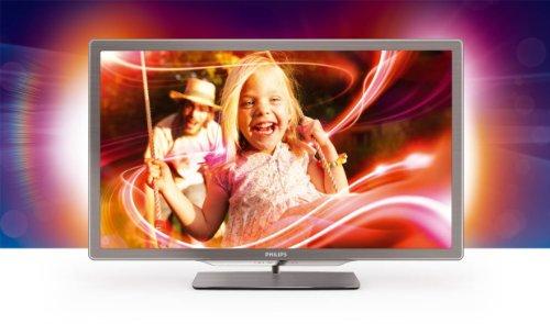 Philips 32PFL7406K/02 81 cm (32 Zoll) Ambilight LED-Backlight-Fernseher, Energieeffizienzklasse A  (Full-HD, 400 Hz PMR, DVB-T/-C/-S2, Smart TV) silbergrau