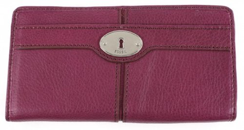 Fossil Maddox Zip Clutch - Berry