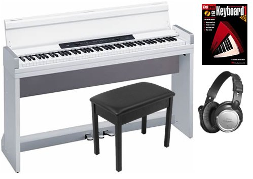 Korg LP-350 White Digital Piano BUNDLE w/ Wood Bench & Headphones
