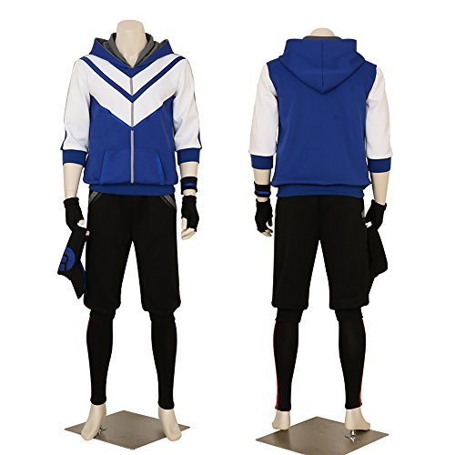 Men's Pokemon Go Blue Hoodie Trainer Team Valor Instinct Mystic Costume XSmall