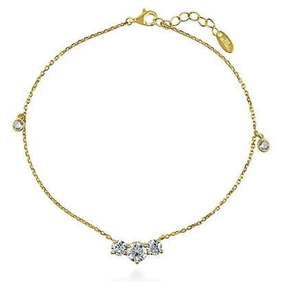 BERRICLE-Yellow-Gold-Plated-Sterling-Silver-Round-Cut-Cubic-Zirconia-CZ-3-Stone-Fashion-Anklet