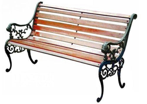 Gartenbank 2-sitzer mit Gusseisen - Seitenteilen und Holzbelattung, mahagonifarben