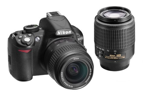 Nikon D3100 14.2MP Digital SLR Double-Zoom Lens Kit with 18-55mm and 55-200mm DX Zoom Lenses (Black) (Discontinued by Manufacturer)