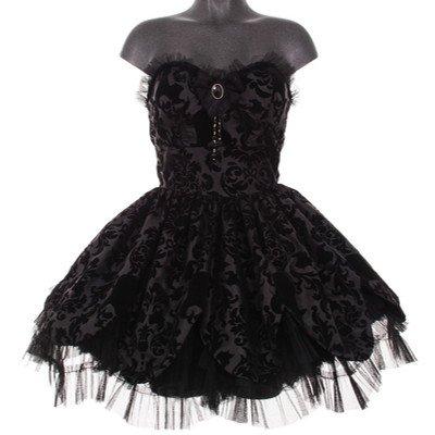 Hell Bunny trägerloses Mini-Kleid PETAL DRESS black