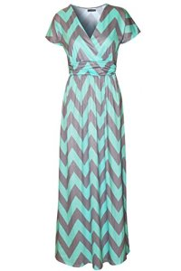 Kranda-Womens-Striped-V-neck-Empire-Waist-Chevron-Maxi-Long-Dress