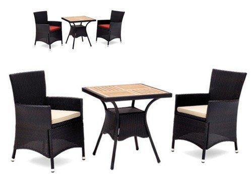 Belardo EREBIA Gartenmöbel Gartentisch und Gartensessel 3er-Set Rattanmöbel Schwarz