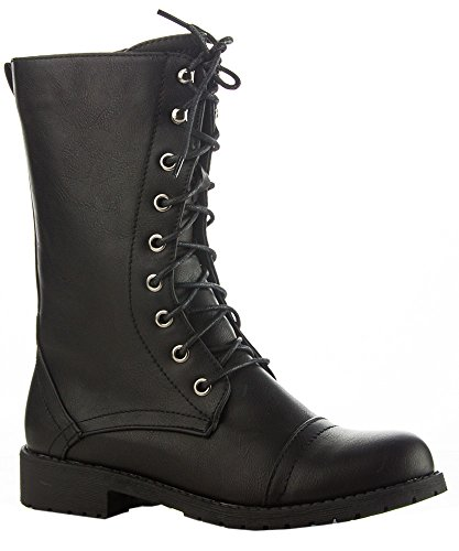 ROF Vegan Leather Lug Heel Ankle to Mid Calf Lace Up Zipper Closure Combat Military Motorcycle Boots Booties with Hidden Pocket BLACK PU-P ( 9 )