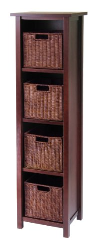 Winsome Wood Milan Wood 5 Tier Open Cabinet in Antique Walnut Finish and 4 Rattan Baskets in Espresso Finish