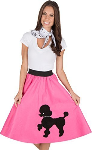 Adult Poodle Skirt with Musical Note printed Scarf Hot Pink