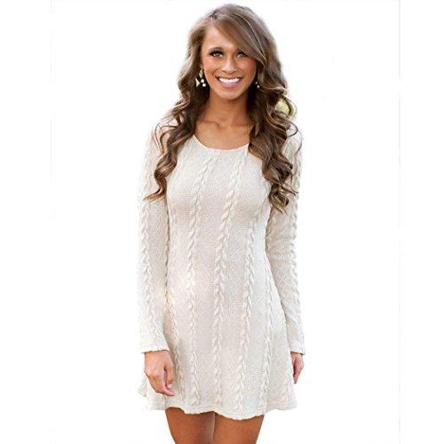 CRAVOG-Damen-A-Line-Kleid-Strickkleider-Langarm-Sweater-Tops-Jerseykleid