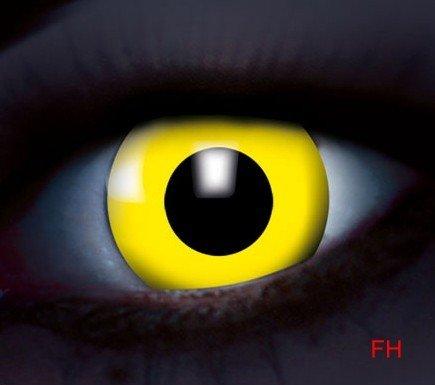 1 Paar farbige Kontaktlinsen Disco UV aktive Kontaktlinsen gelb 12 monats Linse