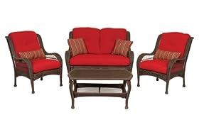 reviews bella vista 4 piece seating patio furniture set wicker brick red by la z boy outdoor sale fdhgjkf