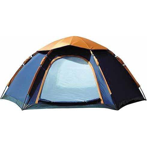 hexagon camping zelt sechseckzelt blau orange zelt. Black Bedroom Furniture Sets. Home Design Ideas