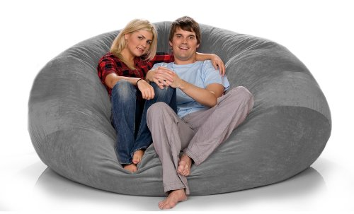 Jaxx Sac Bean Bag Chair 7Ft In Suede Charcoal Review. By Amazon.com