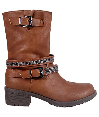 Faux Leather Biker Boots (17183-BRN-3)