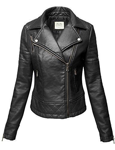 Wine Pu Faux leather Zipper Biker Leather Jackets, 004-Black, Medium