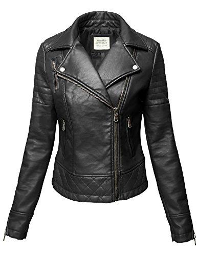 Wine Pu Faux leather Zipper Biker Leather Jackets, 004-Black, Medium