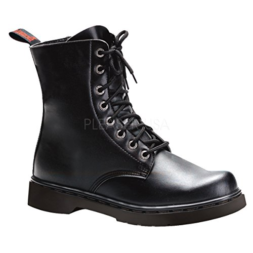 Demonia Unisex Defiant 100 Combat Boots, Black Vegan Leather, 10 M