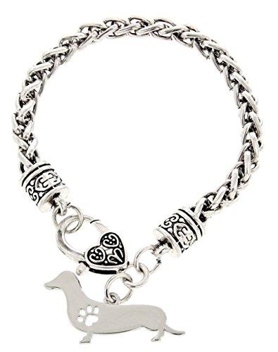 Dachshund Bracelet Gift Love Dog Breed Silhouette Charm Bracelet Silver-Tone Bracelet
