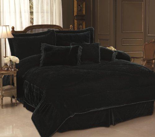 SAVE ON #! 7PC BLACK VELVET COMFORTER SET BED IN A BAG