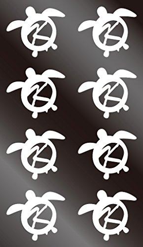 nc-smile イニシャル ハワイアン ホヌ 英字 アルファベット デコレーション シール ステッカー K ホワイト