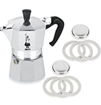 Bialetti® Moka Express #06799 3-Cup Espresso Maker Machine and #06960 Bialetti®, Six Replacement Gaskets and Two Bialetti® Replacement Filter Plates Bundle