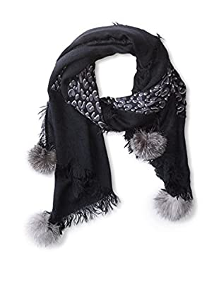 Mitchie's Matchings Women's Leopard Print Oversized Scarf with Fox Pom Poms, Black