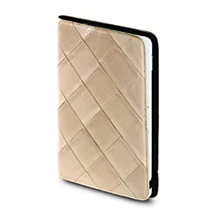 "OCTOVO Genuine Quilted Leather Kindle 2 Cover with Hinge(Fits 6"" Display, 2nd Generation Kindle), Beige"