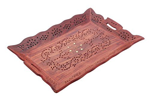 Decorative Rosewood Snack And Coffee Serving Tray With