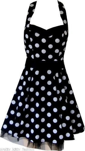 Pretty Kitty Fashion 50s Schwarz Weiß Polka Dot Cocktail Mini Kleid