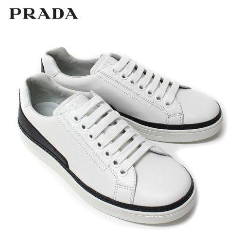 (プラダ) PRADA スニーカー ローカット レザー WHITE 4E2831 BIANCO/PRADA [並行輸入品]