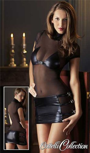Rassiges Schnallen Glanz-Wetlook Minikleid schwarz
