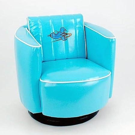Blue Vinyl Kids Swivel Chair Rocket Space Age Design Adorable Furniture