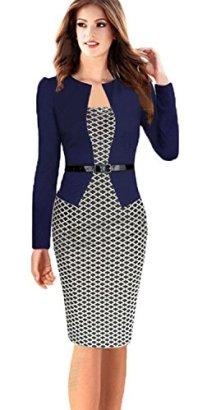 Babyonline-Women-Colorblock-Wear-to-Work-Business-Party-Bodycon-One-piece-Dress
