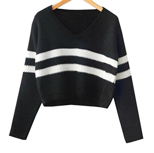 Arrowhunt Damen Mädchen Kurz Langarm Einfarbig Streifen Pullover Sweater