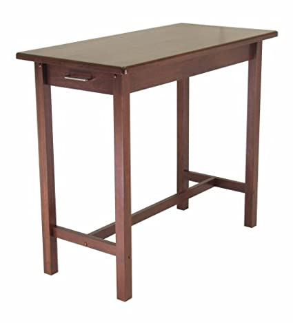 Winsome Wood Antique Walnut Kitchen Island with Two Drawers