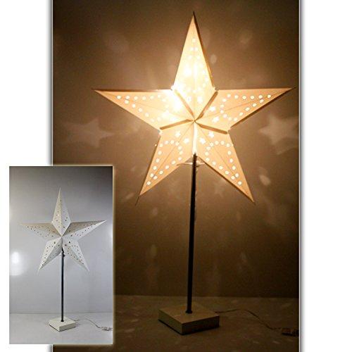 (641) XL Tischlampe Stern 10Leds Papierstern Lampe Stehlampe 70cm weiss