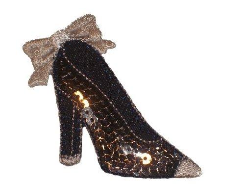 Schuh 6,7 cm * 5,8 cm AUFNÄHER APPLIKATION BÜGELBILD Sandalen jeans blau Schuhe Stiefel Stiefeletten Pumps Absatzschuhe High Heels