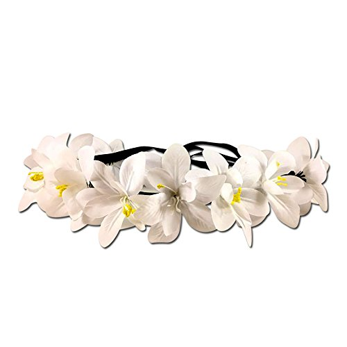 Festie Fever Light Up White Flower Crown with 3 Modes