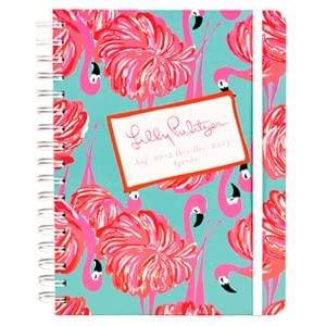 """2012-2013 Lilly Pulitzer """"GIMME SOME LEG """" Large Agenda w/ Flamingo / 17 Month Datebook Planner"""