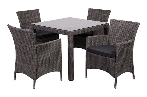 Atlantic 5-Piece Grand New Liberty Deluxe Square Wicker Dining Set with Grey Cushions
