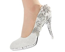 Getmorebeauty-Womens-Silver-Lace-Flower-Pearls-Closed-Toes-Wedding-Shoes