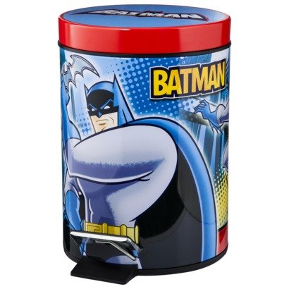 Batman Metal Waste Basket with Step Controlled Lid