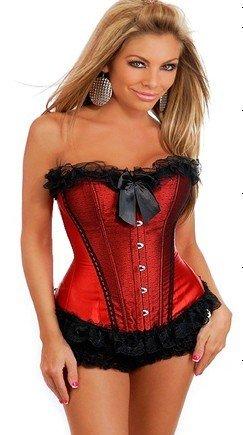 sexy schwarzer Spitze Satin rot Korsett mit Rüschen Panty ist die Partei, Königin, Größe 34,36,38,40,42,44