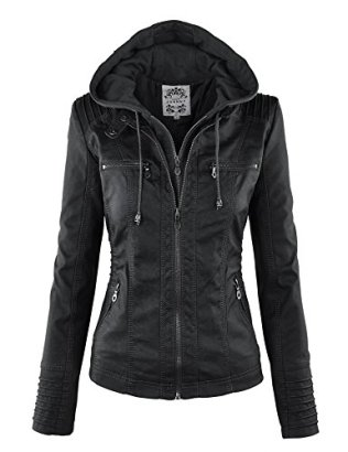 LL-WJC663-Womens-Removable-Hoodie-Motorcyle-Jacket-L-BLACK