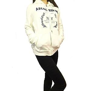 アバクロンビー&フィッチ Abercrombie & Fitch アバクロ レディース フード パーカー ロゴ ホワイト Mサイズ [並行輸入品]