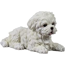 4.5 Inch Maltese Puppy Lying Down Decorative Statue Figurine, White
