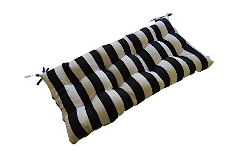 Black And White Stripe Indoor / Outdoor Tufted Cushion For
